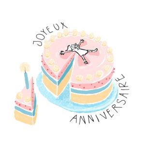 Carte joyeux anniversaire pour petite fille avec gateau