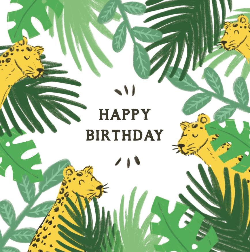 carte joyeux anniversaire jungle avec tigres