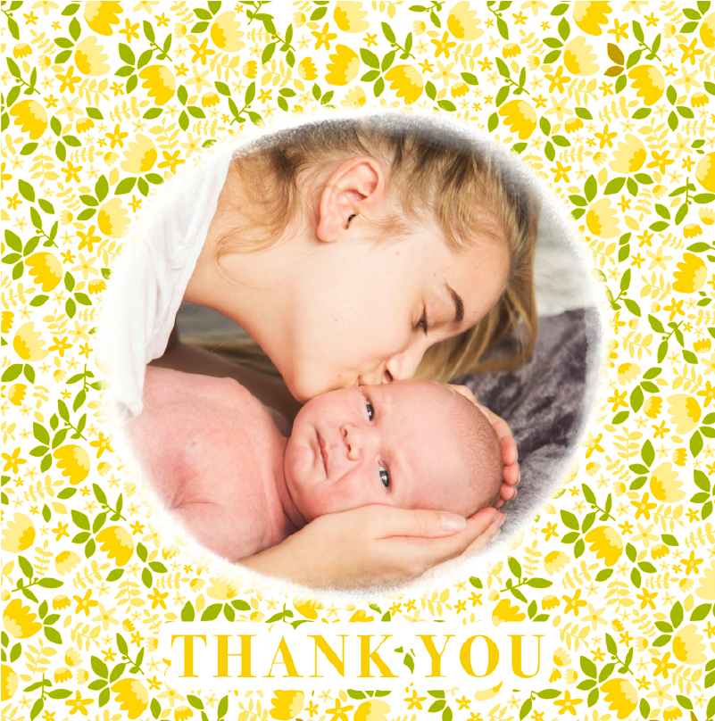 thank you card birth motif liberty yellow