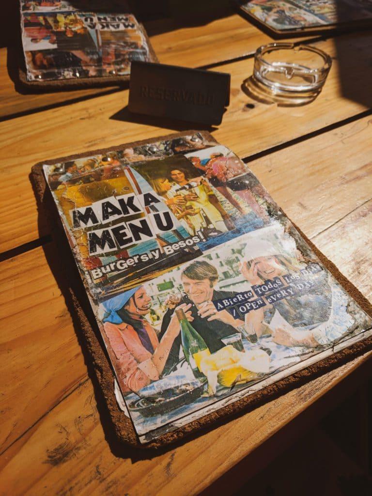 Menu du Makamaka à Barcelone