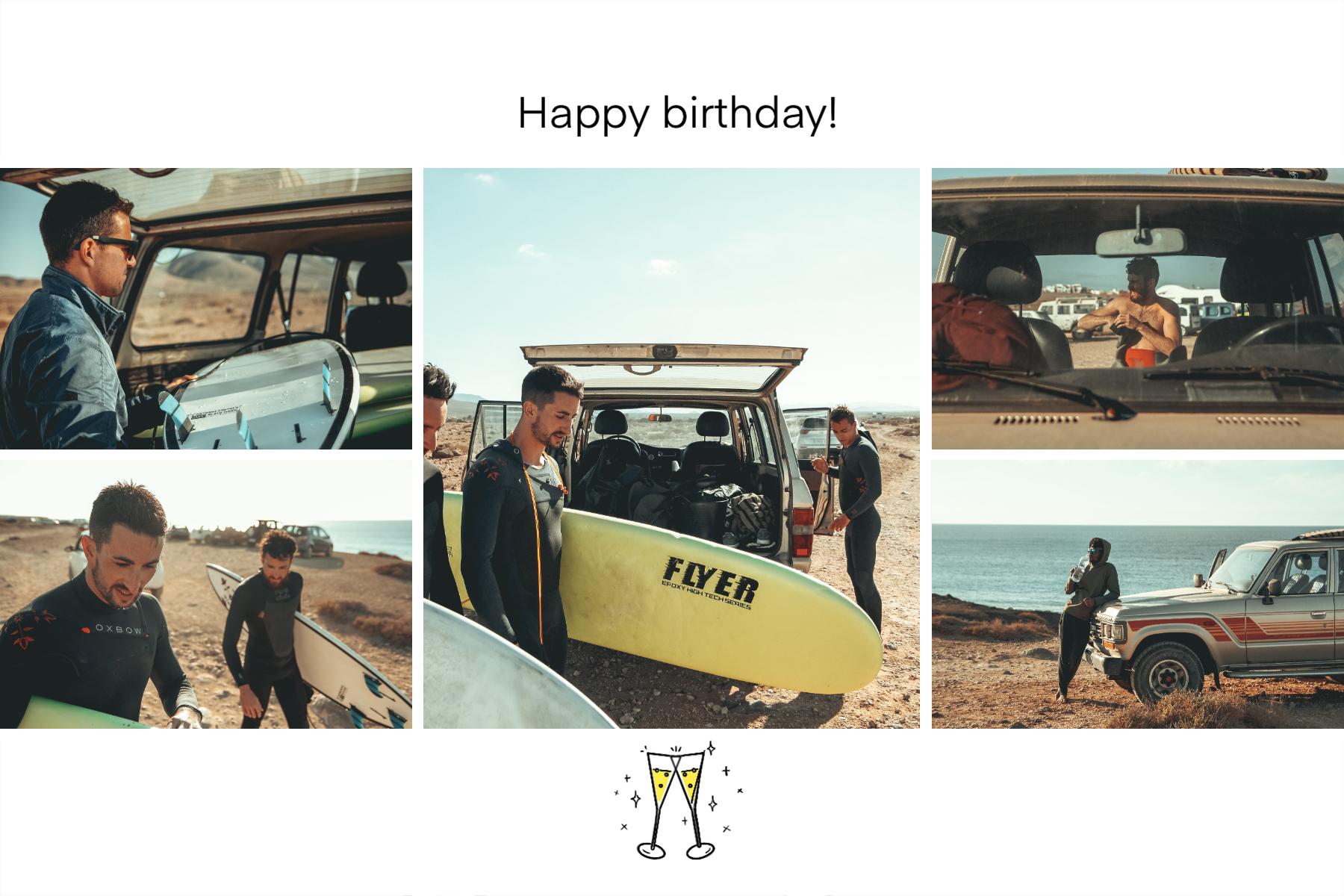 Carte anniversaire homme joyeux anniversaire avec coupes de champagne