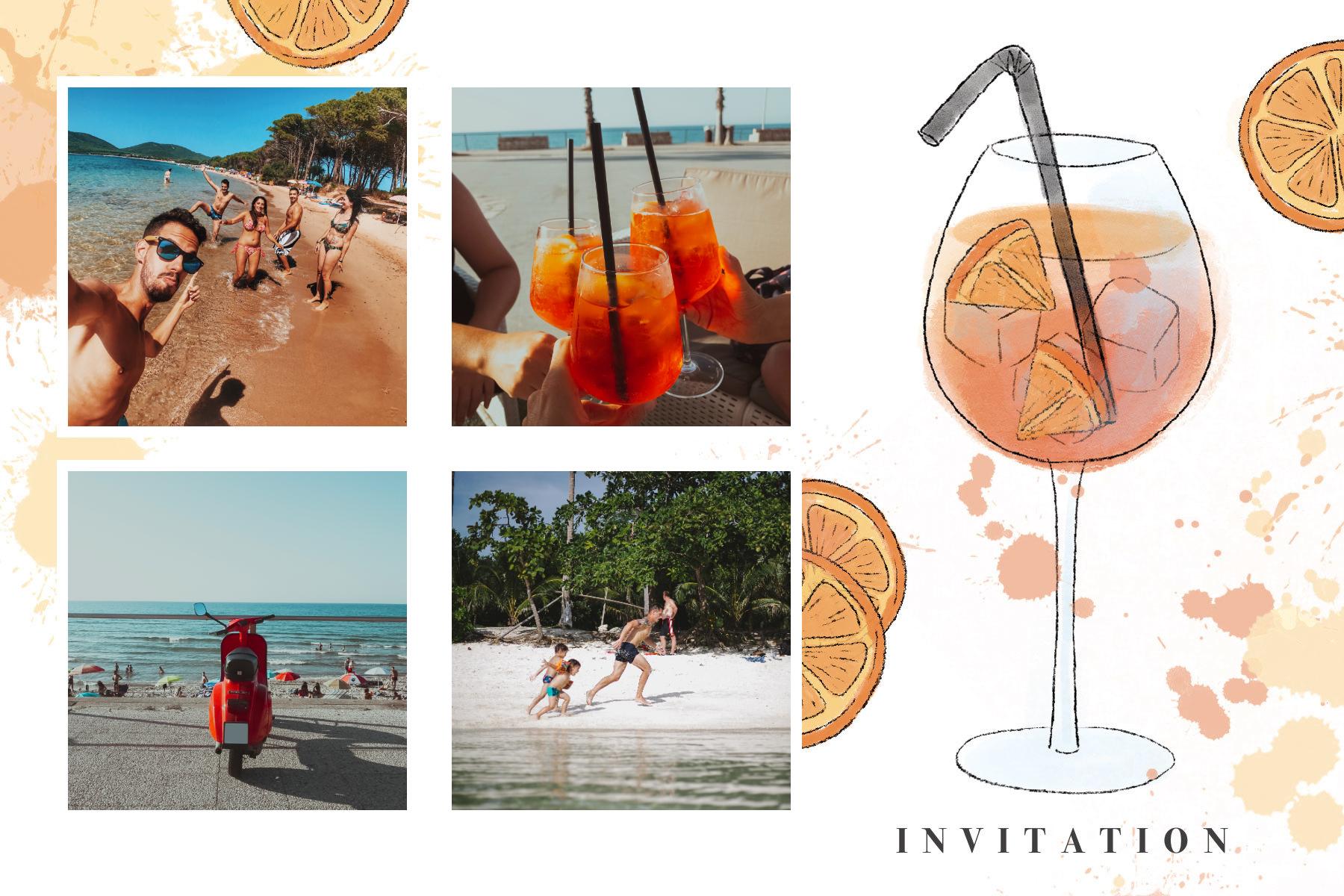 Invitation avec spritz et tâches oranges