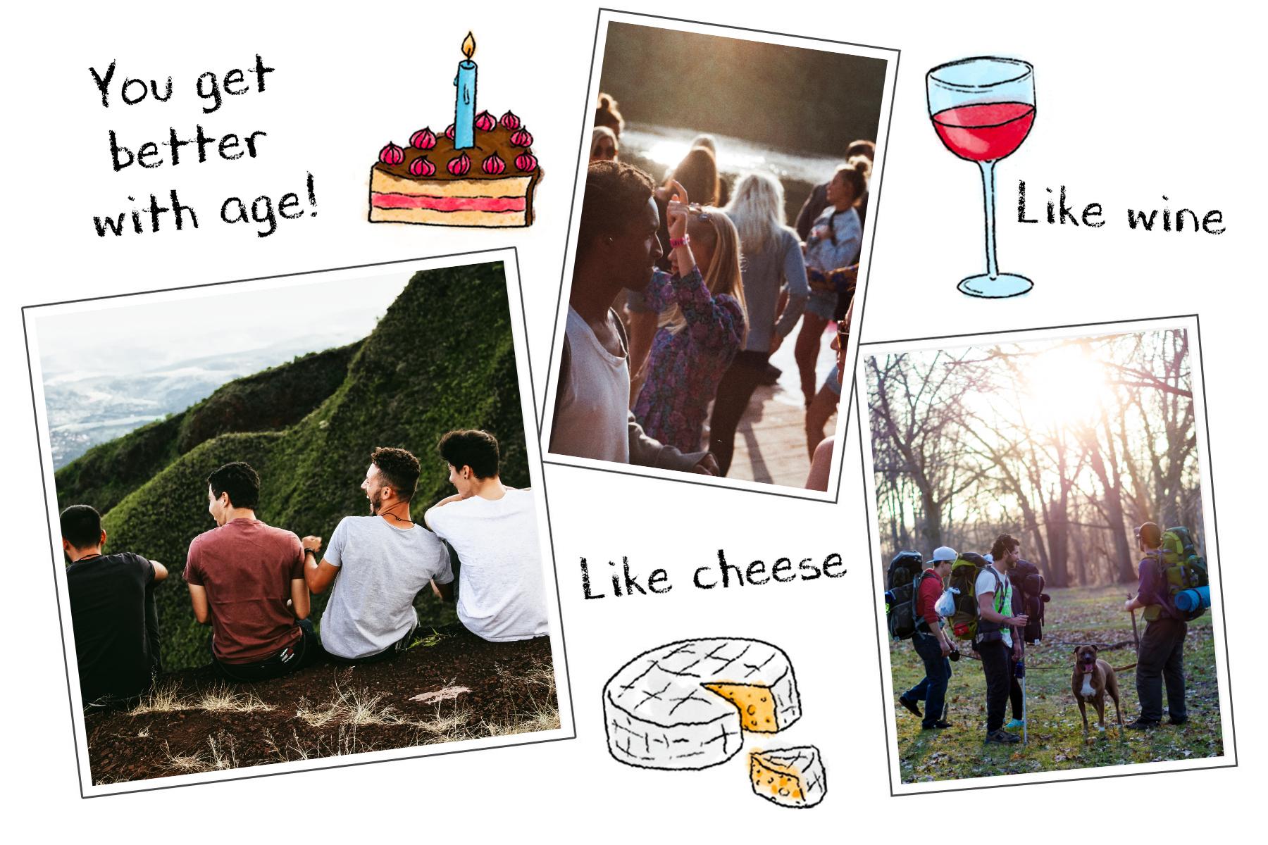 Carte anniversaire homme humoristique tu t'améliores avec le temps, comme le vin, comme le fromage