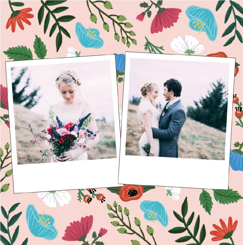 faire-part mariage boheme fond rose avec fleurs des champs