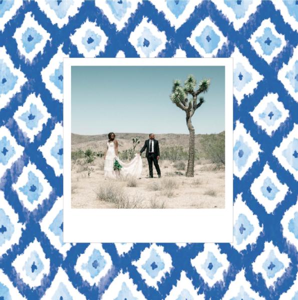 carte mariage motif bleu ethnique
