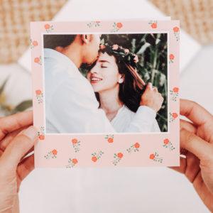 faire-part de mariage fleuri avec photo