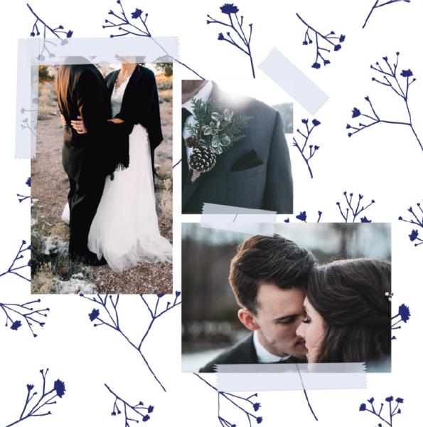 faire-part mariage hiver fleurs bleus trois photos