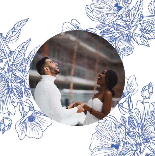 carte mariage une photo ronde avec fleurs bleues