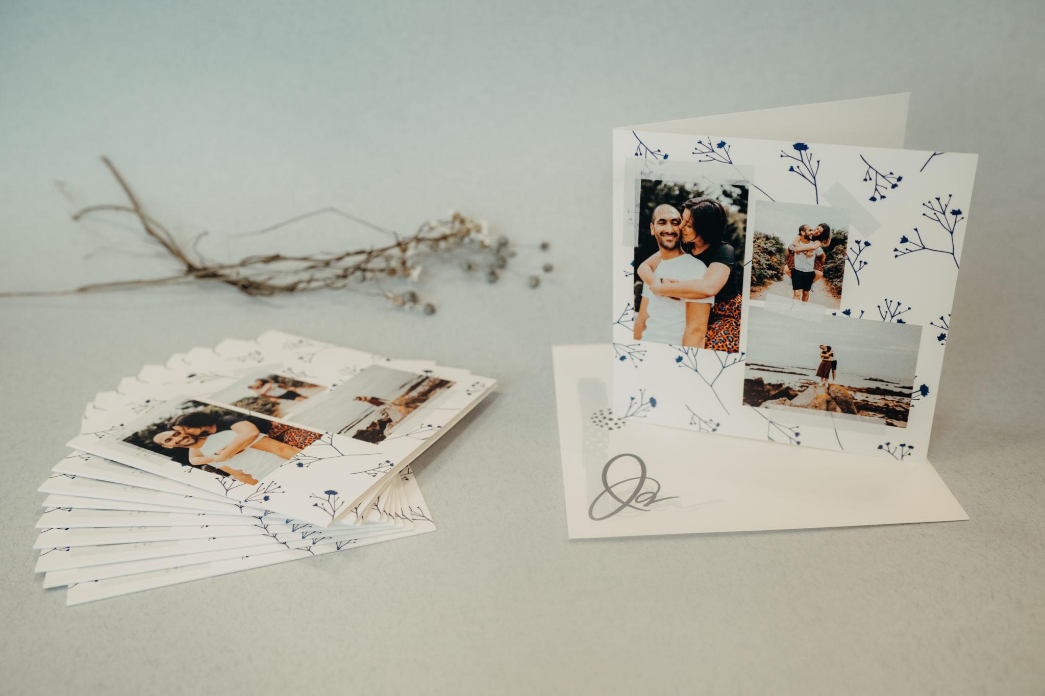 invitation de mariage fleurs bleues