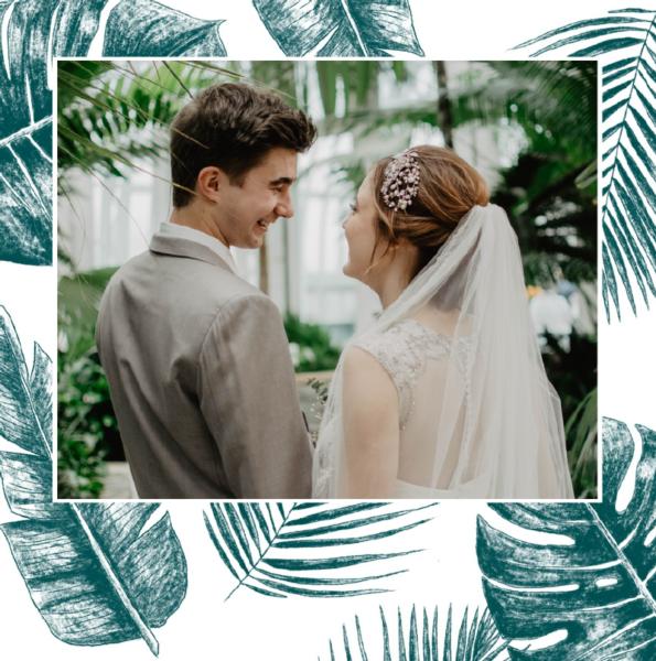 carte mariage design feuillage de jungle