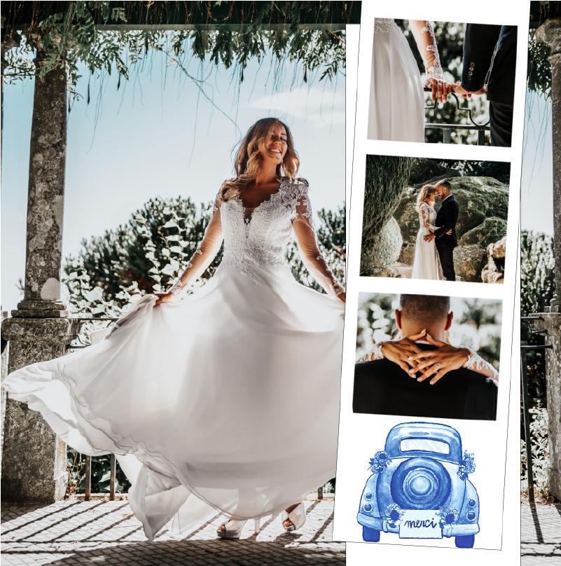 Faire-part de mariage champetre avec coccinelle bleue