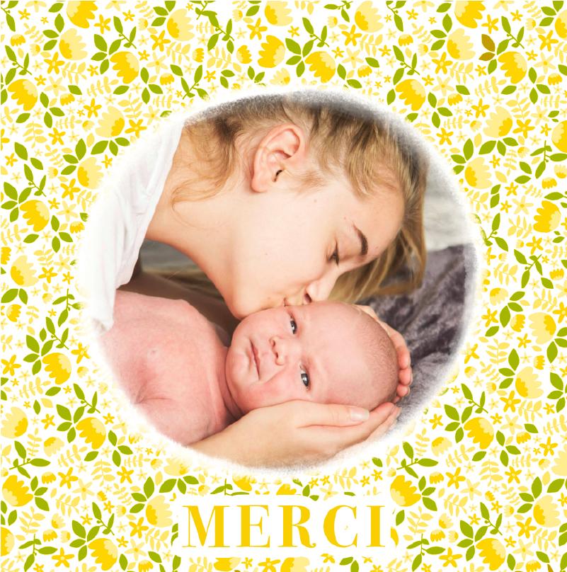 carte remerciements naissance motif libertie jaune