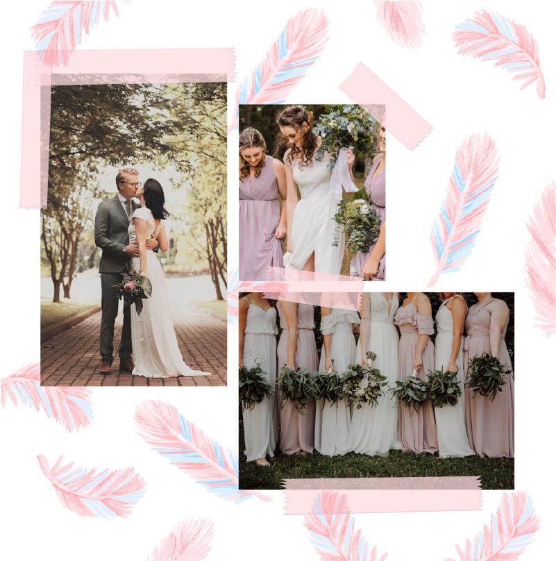 remerciement trois photos avec plumes roses