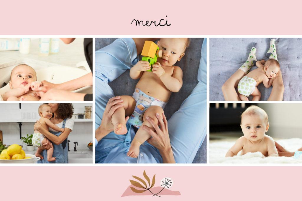 carte postale remerciements rose avec fleurs