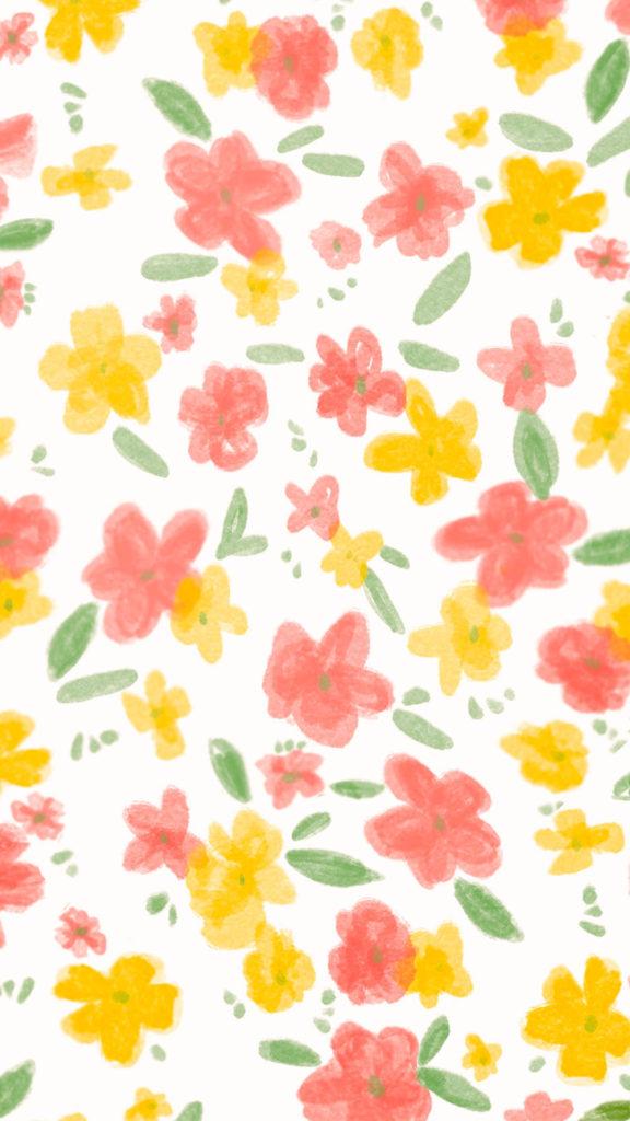 fond d'ecran fleurs jaunes et roses pour mobile