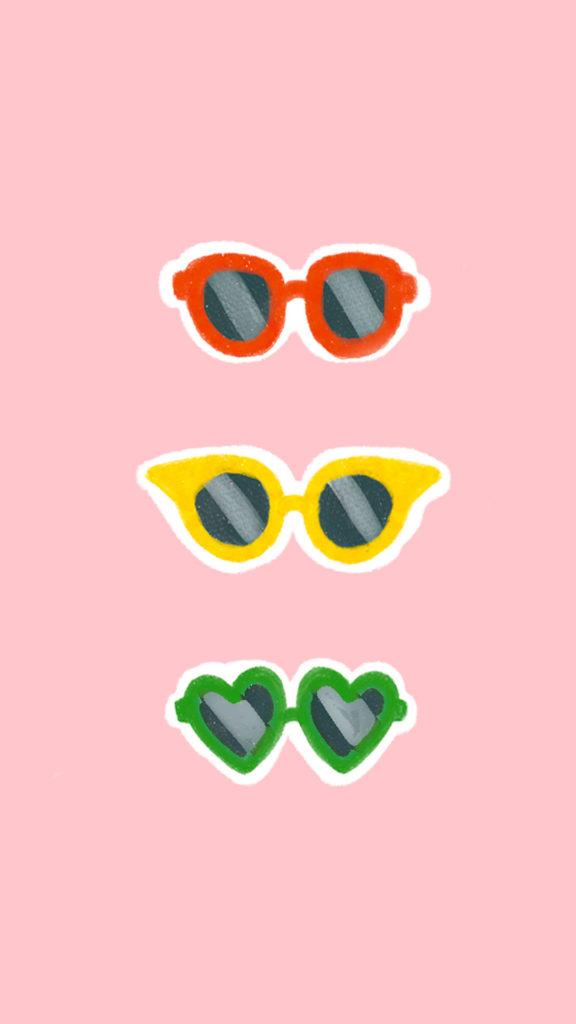 lunettes de soleil sur fond rose mobile