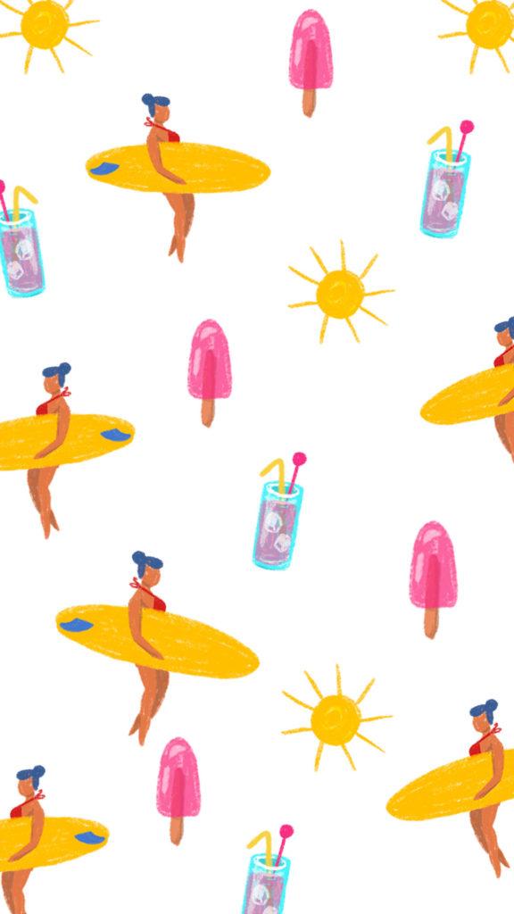 planches de surf, glaces et cocktails