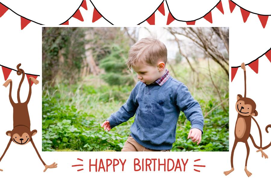 carte d'anniversaire pour garcon avec photo et singes