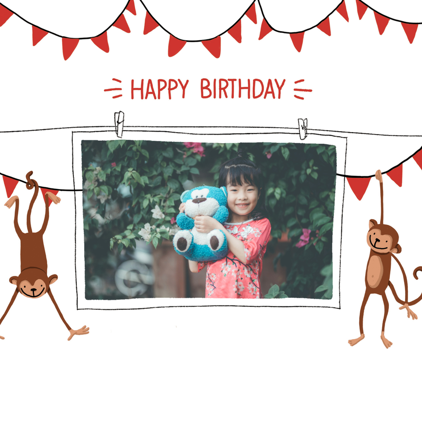 carte d'anniversaire fille avec photo et singes
