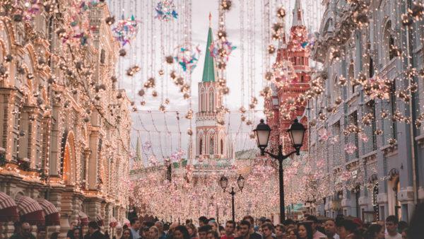 Place Rouge a Moscou en Russie pendant Noel