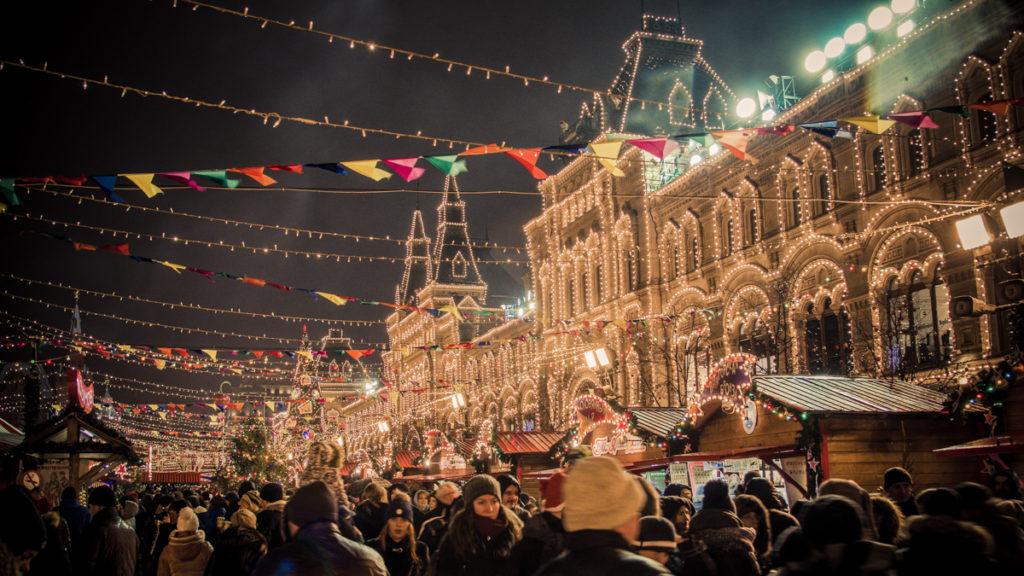 Marche de Noel a Moscou en Russie