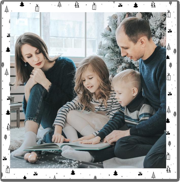 Noël en famille, souvenirs à envoyer sur vos cartes de Noël