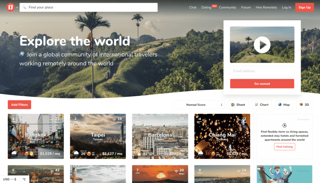 Page d'accueil de Nomadlist, le site pour comparer les destinations idéales des digital nomad
