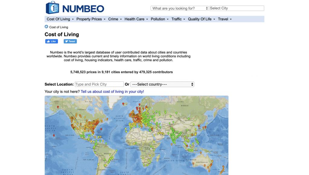 Numbeo, site pour comparer les coûts de la vie pour les voyageurs et digital nomad
