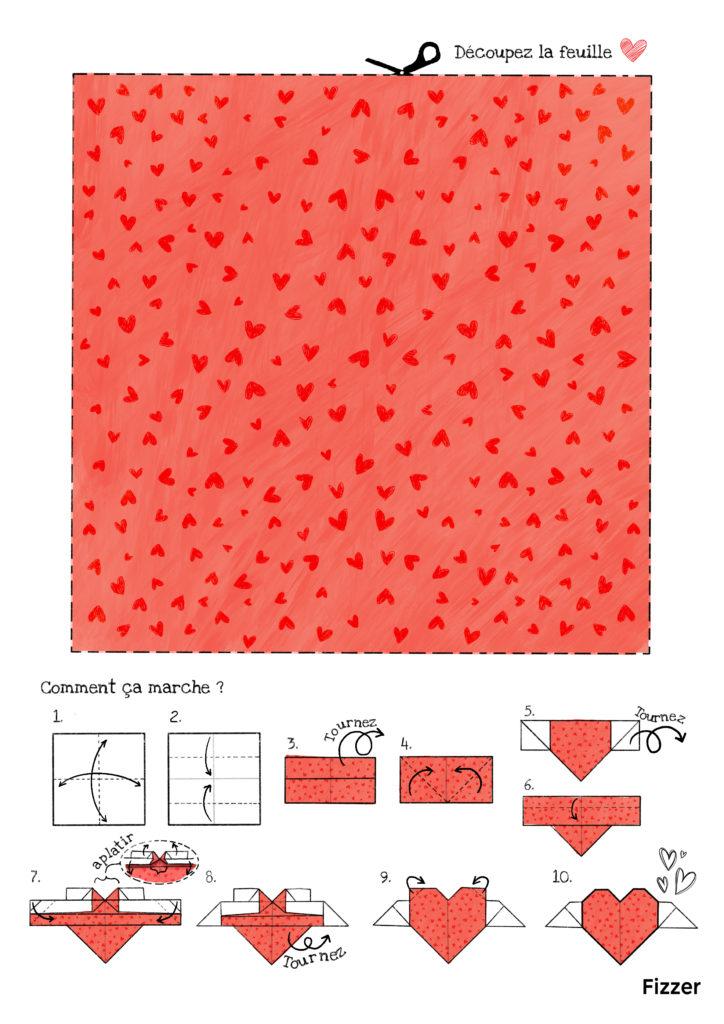 Origami Fete des Mères motif coeur