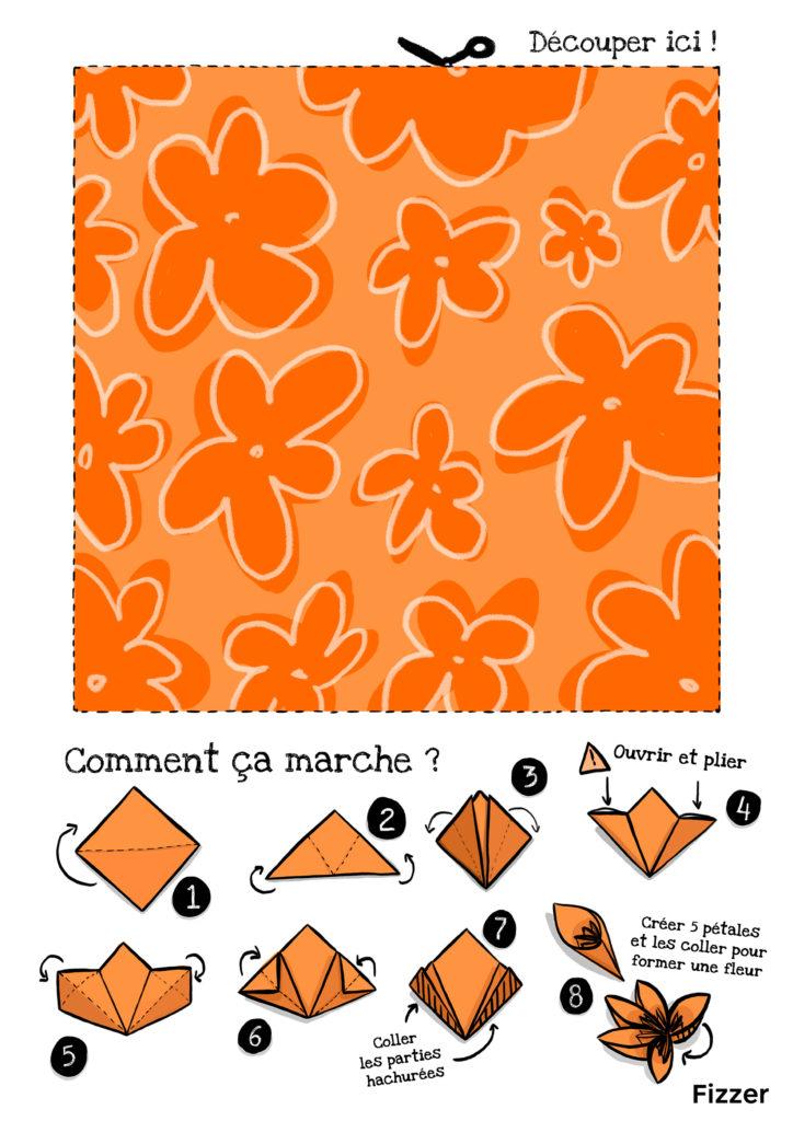 Origami Fete des meres motif fleurs