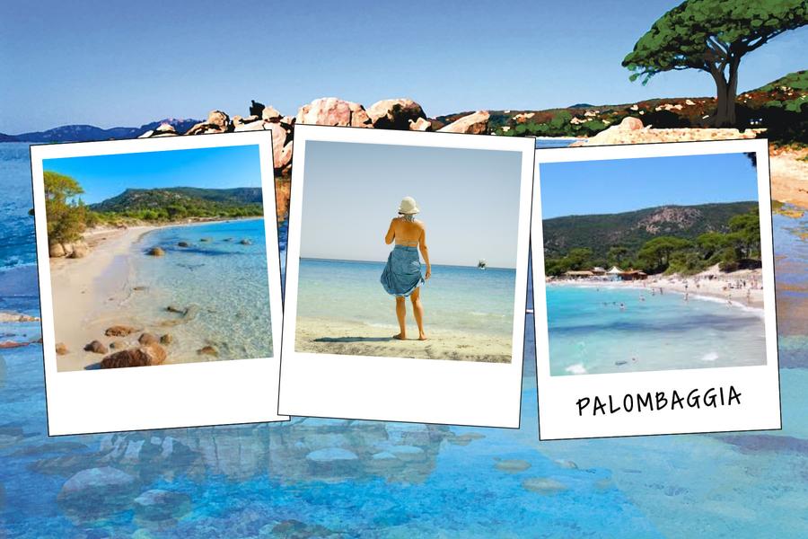 Carte postale de Palombaggia avec trois photos