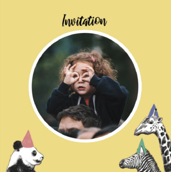 yellow invitation with panda, girafe and zebra