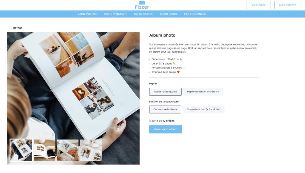Choix de parametres pour creer son album photo Fizzer