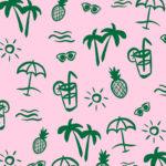 Illustration cocktails et palmiers