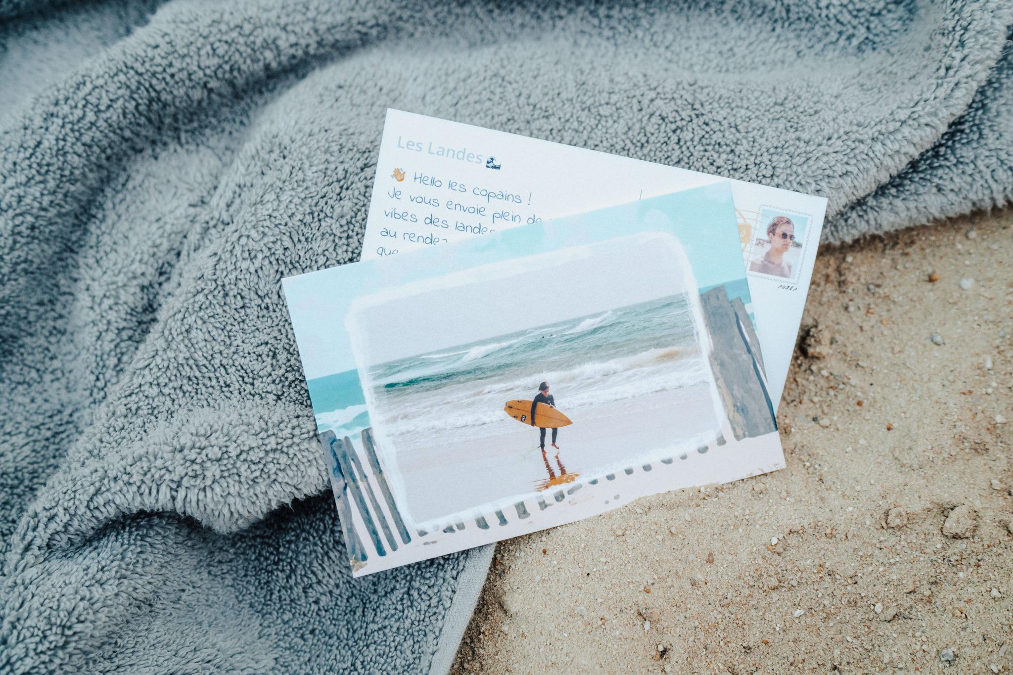 carte postale surf pays basque