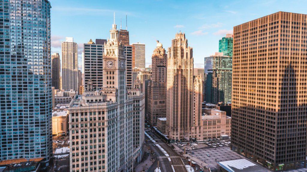 Vue de la ville de Chicago aux États-Unis, ville qui organise au mois de juin le plus grand festival gratuit de blues.