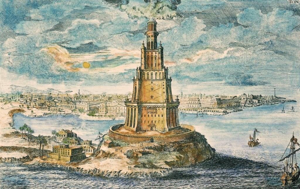 Gravure du Phare d'Alexandrie 7 merveilles du monde antique