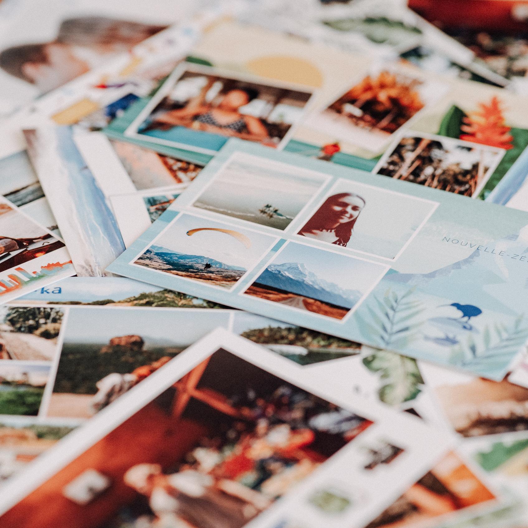 postcards haphazardly arranged