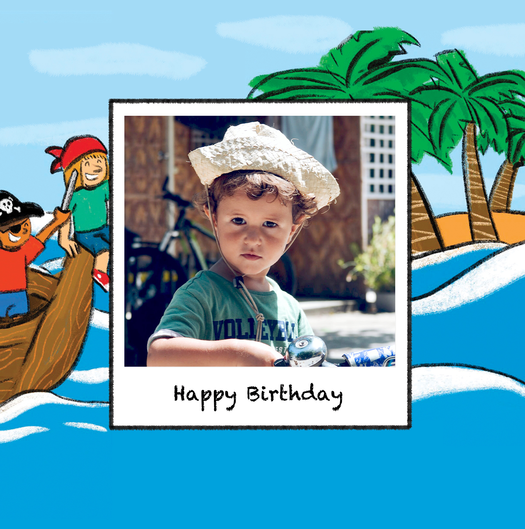 Carte enfant joyeux anniversaire bateau de pirate