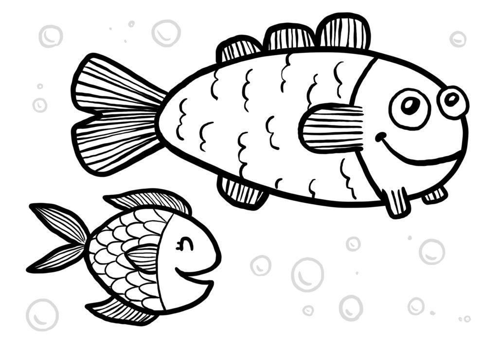Deux poissons enfant et adultes a imprimer