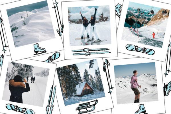 carte imitation polaroids sports d'hiver
