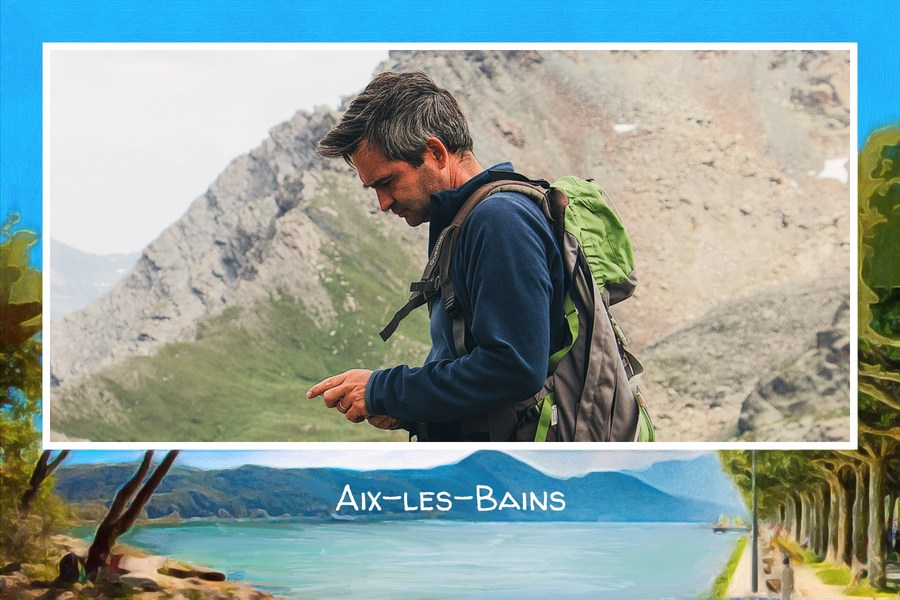 postcard from aix-les-bains with a picture