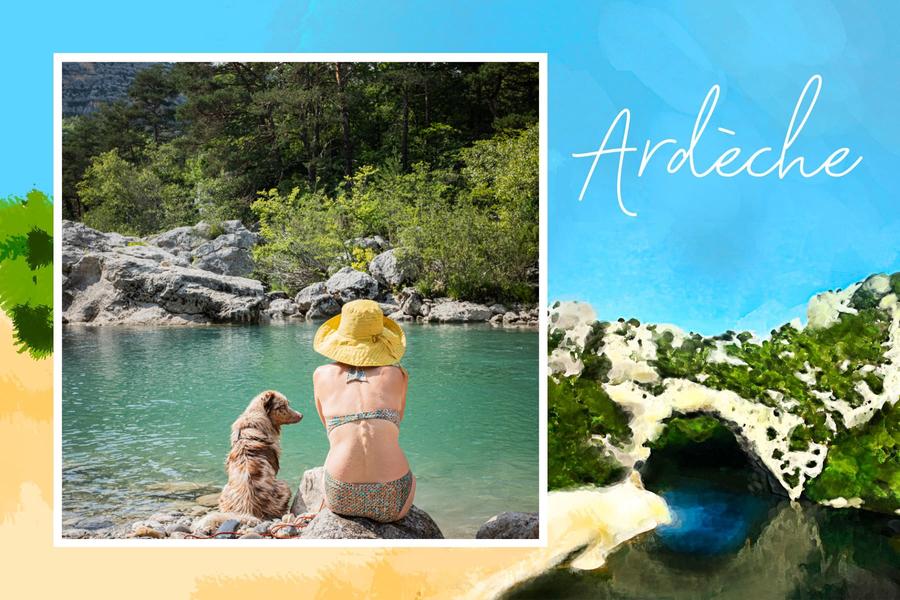 ardeche postcard with pont d'arc