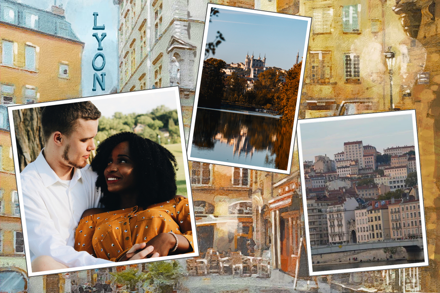 postcard from lyon with three pictures