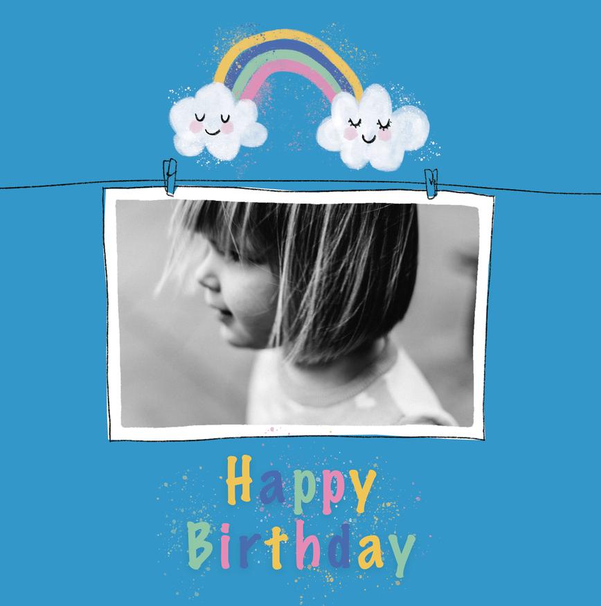 joyeux anniversaire carte avec photo bleue avec nuage