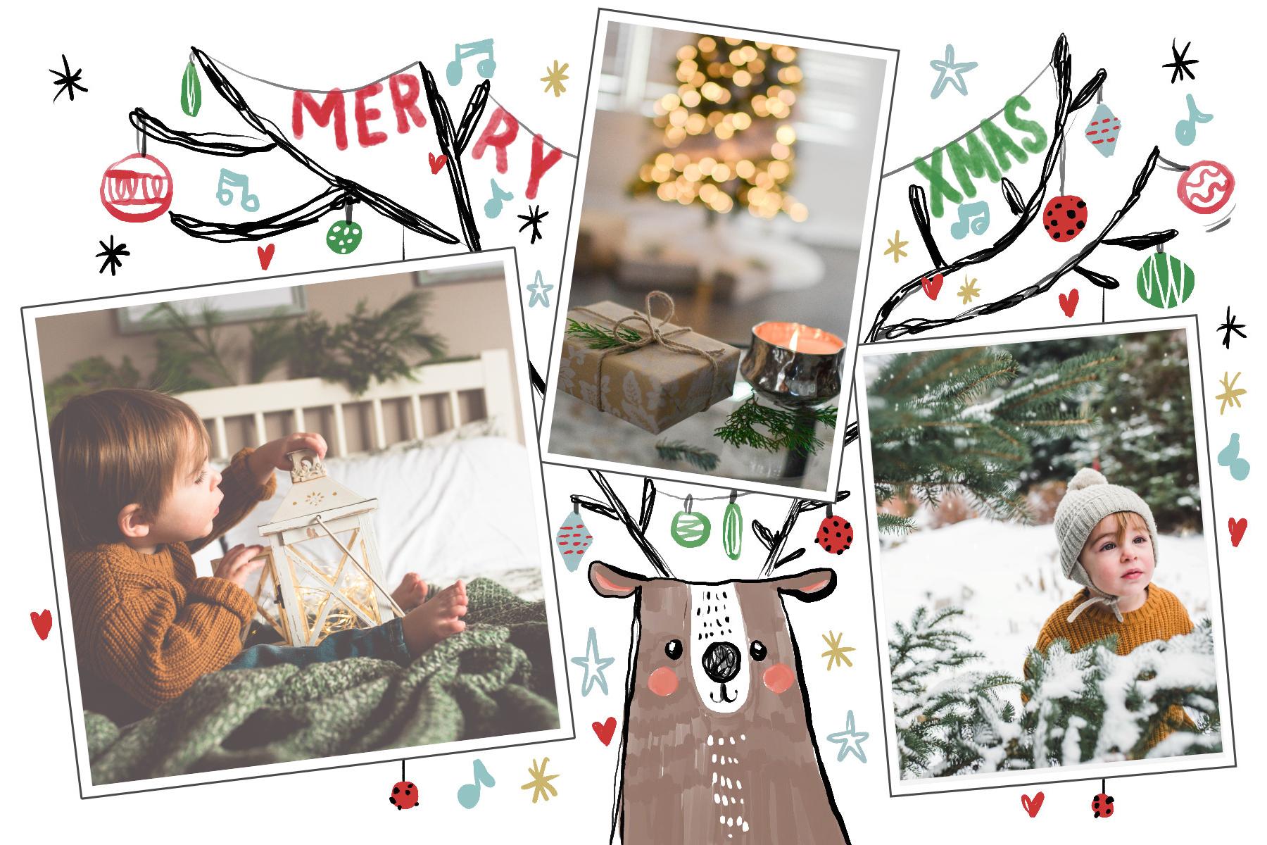 Carte Joyeux Noel avec renne de Noel