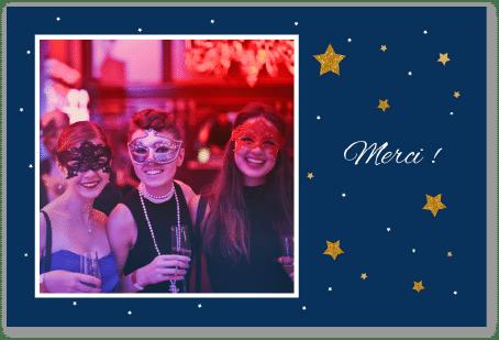Carte remerciements anniversaire bleue avec étoiles dorées