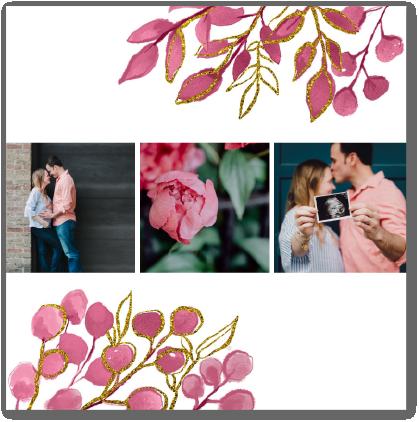 carte fleurs roses remerciements baby shower