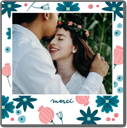 cartes remerciements mariage fleurie