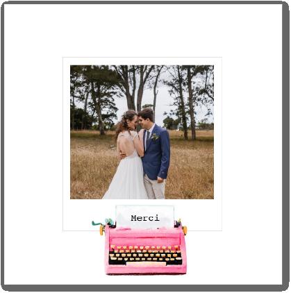 carte Fizzer remerciements de mariage machine à écrire